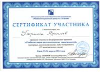 Сертификат о профессиональном лечении зависимостей